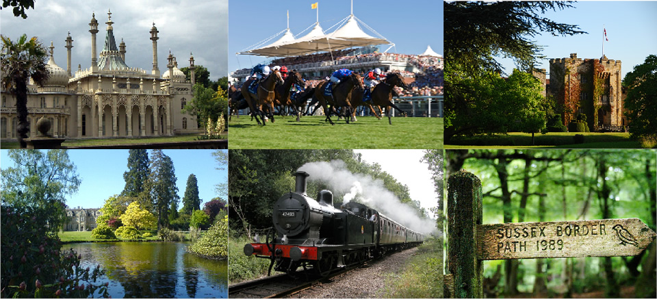 Collage of local attraction photos showing Brighton Pavilion, Horse Racing, Hever Castle, Wakehurst Place, Bluebell Railway, and a sign for the Sussex Border Path